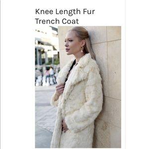 New 2Bella Fur Trench Coat Size Small